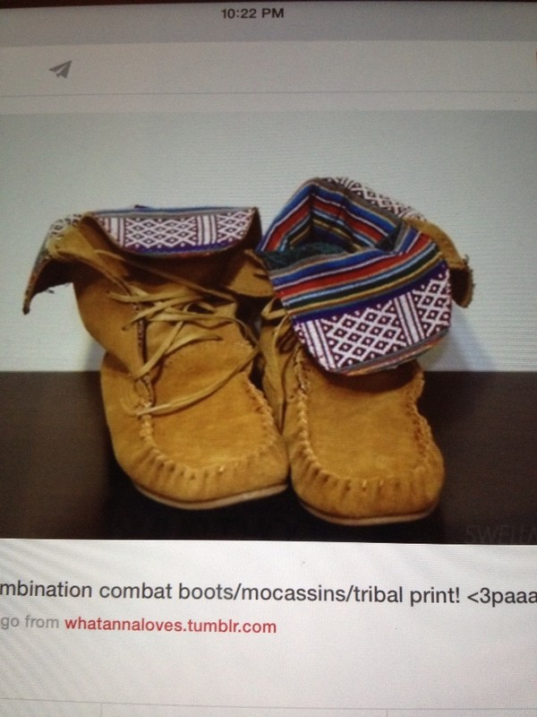 shoes combination of combat boots moccasins and tribal print