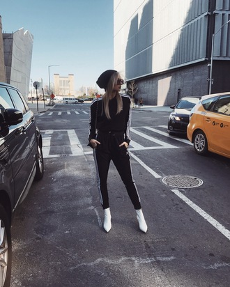 we wore what blogger pants sweater shoes hat tumblr adidas black pants side stripe pants sweatpants black sweatpants sweatshirt joggers tracksuit beanie athleisure boots white boots ankle boots pointed boots