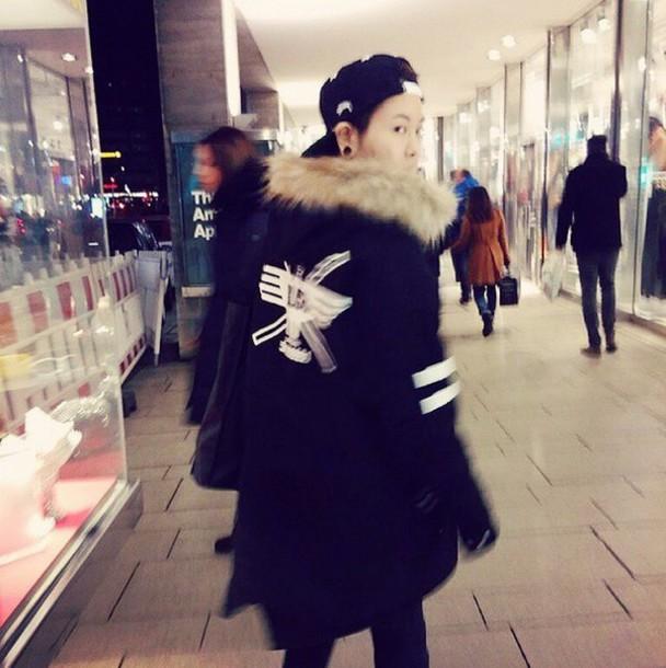 jacket hip hop ulzzang ulzzang boy parka parka korean fashion korean style trill swag coat hip hop rap K-pop black jacket