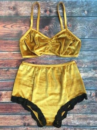 swimwear yellow summer spring style two-piece trendy fashion zaful