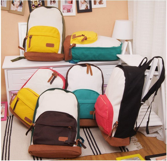 Shipping Free !New 2014 Casual Women's Colorful Canvas Backpack Women Girl Lady Student School Bags Travel Shoulder Bag Mochila-in Backpacks from Luggage & Bags on Aliexpress.com