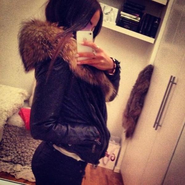 jacket fur black leather leather black leather jacket