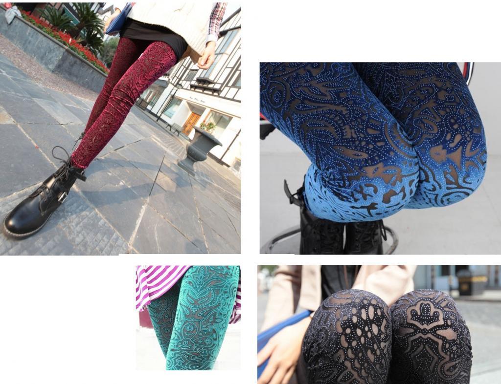 New Velvet 4 Color Laser Cut Velvet Legging Prints Pleuche Hollow Leggings   eBay