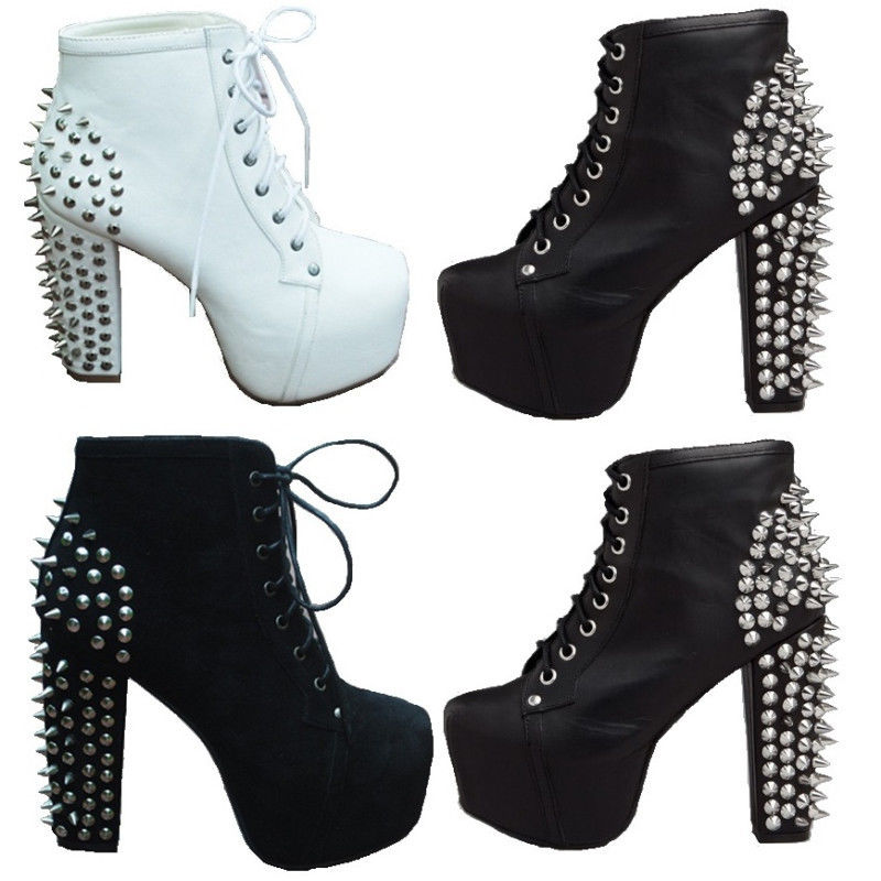 Fashion Womens Spike Studded Lace Up High Block Heels Platform Boots Ankle Shoes | eBay