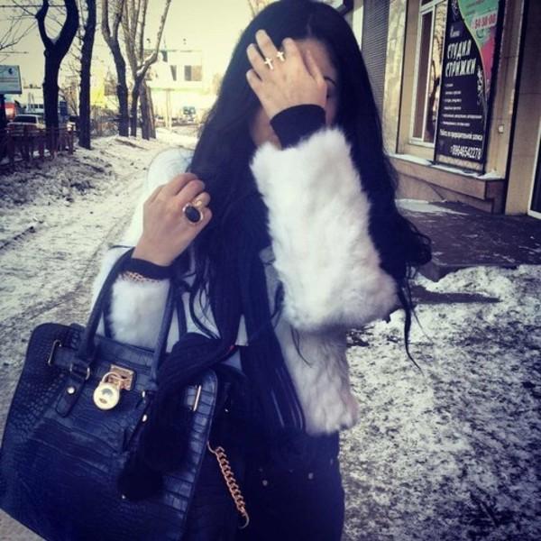 coat white fluffy bag jacket fur grey black gold