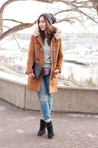 adventures in fashion blogger sweater shirt jeans shoes bag jewels rust duffle coat pouch quilted pom pom beanie grey sweater embellished coat hat quilted bag black pouch hooded winter coat