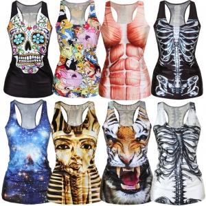 Women Summer Sexy Digital Printing Vest Tops Tank Top Sleeveless
