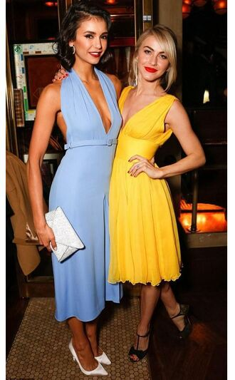 shoes yellow yellow dress midi dress blue dress nina dobrev plunge v neck plunge dress clutch julianne hough