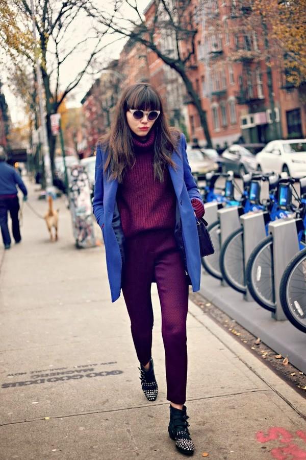 natalie off duty sweater pants coat shoes sunglasses bag straight pants