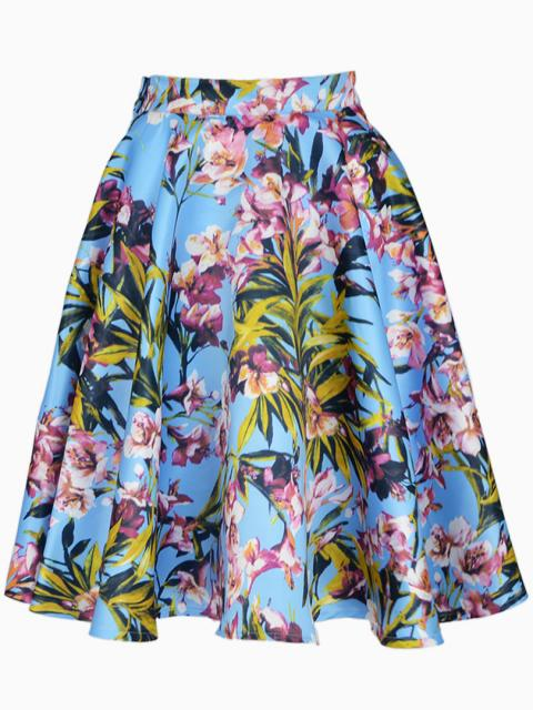 Blue Floral Pleated Skater Skirt With Side Zipper   Choies