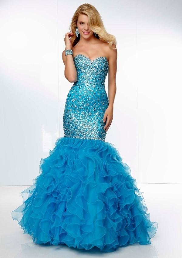 Mermaid Beaded Organza Strapless Long Prom Dress With Diamond - 58eveningdress