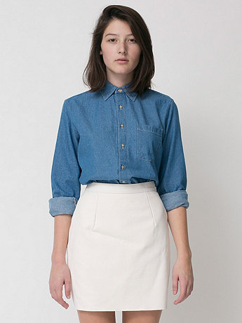 American Apparel - Unisex Denim Long Sleeve Button-Up with Pocket