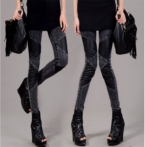 2013 spring female rivet diamond patchwork leather legging jeans boot cut jeans plus size pencil trousers-inJeans from Apparel & Accessories on Aliexpress.com