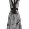 Floral-flocked gingham a-line dress