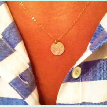 Hand Stamped Initial Necklace   Happy Clam MonogramHappy Clam Monogram