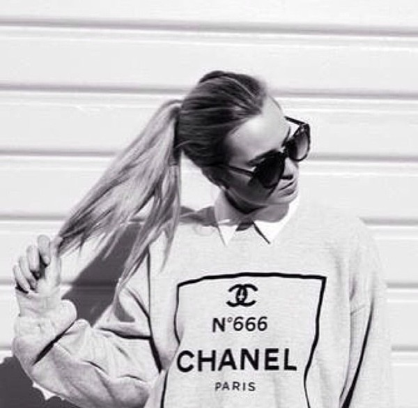 sweater chanel chanel paris winter sweater winter sweater winter outfits shirt white grey grey sweatpants sunglasses black clothes