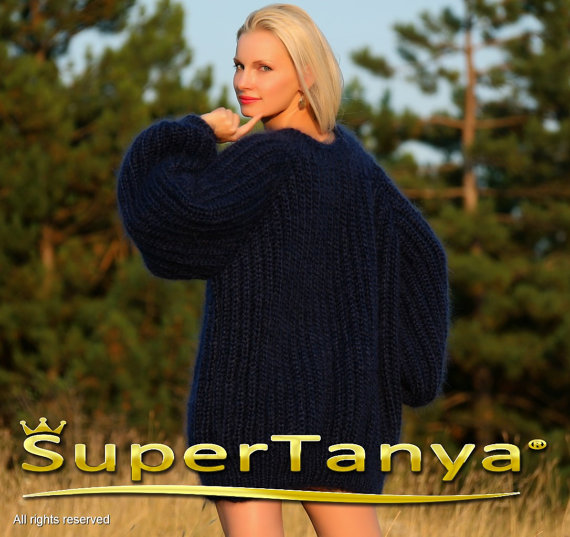 Extra thick deep blue hand knitted mohair sweater in by supertanya