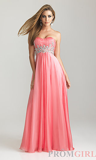 Long Strapless Prom Dresses, Night Moves Prom Gowns- PromGirl