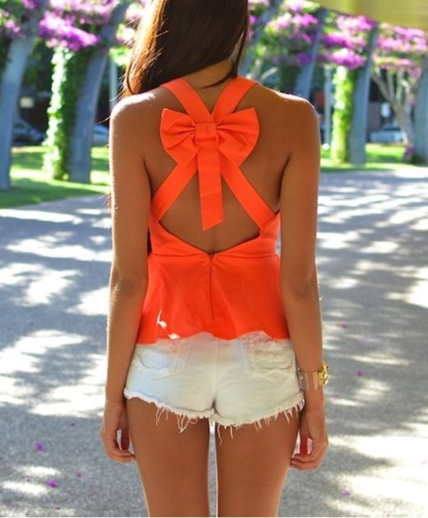 shirt orange tank top tank top bows cut-out bright orange summer top summer outfits