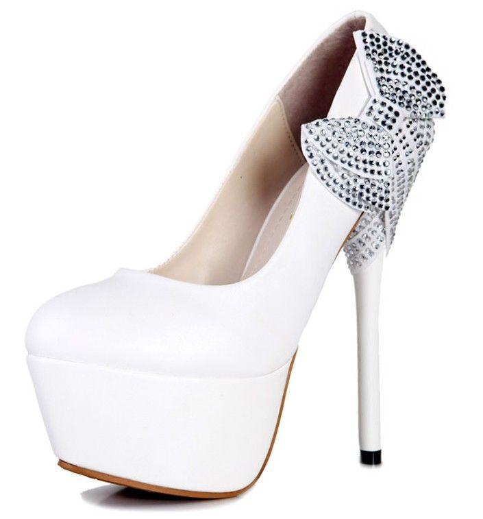 Party Maid White String Bows Princess Stiletto High Heels Wedding Women Shoes   eBay