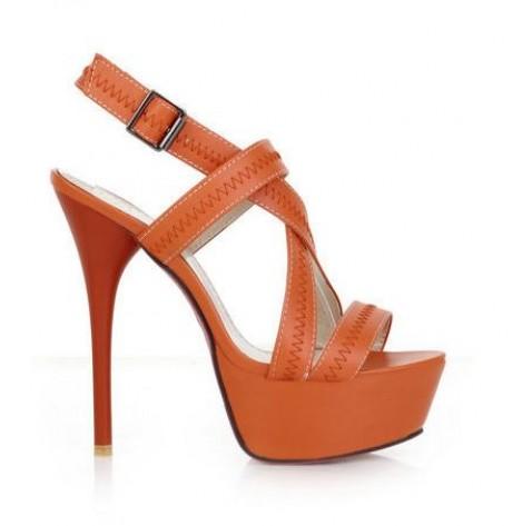 Strappy orange tone thin high heel sandals | Ananasa
