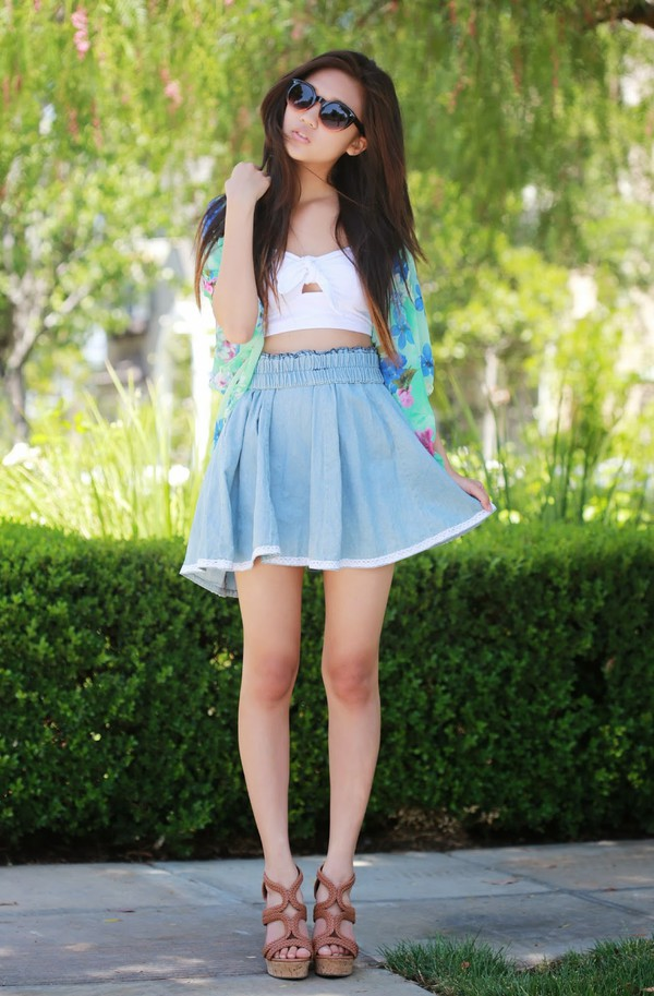 a flower child top skirt sunglasses shoes