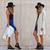 Blue High-waisted Flouncing Skater Skirt | Choies