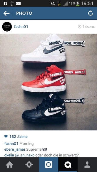 shoes nike sneakers white black red supreme dope