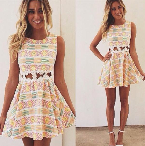 dress cute aztec white