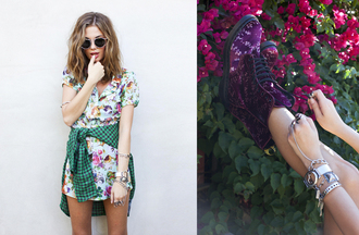 dress floral dress 90s style grunge girly grunge mixed prints flannel drmartens print stacked jewelry bangle bracelets nastygal lookbook shirt sunglasses jewels shoes