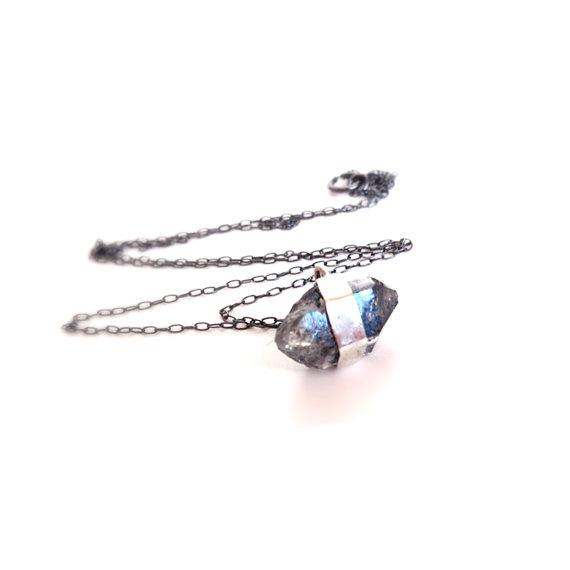 Black Diamond Silver Necklace Herkimer Diamond by camilaestrella