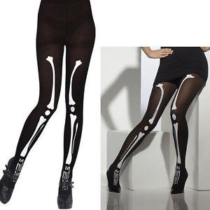 Ladies Skeleton Bone Print Black Tights Halloween Fancy Dress Costume Accessory | eBay