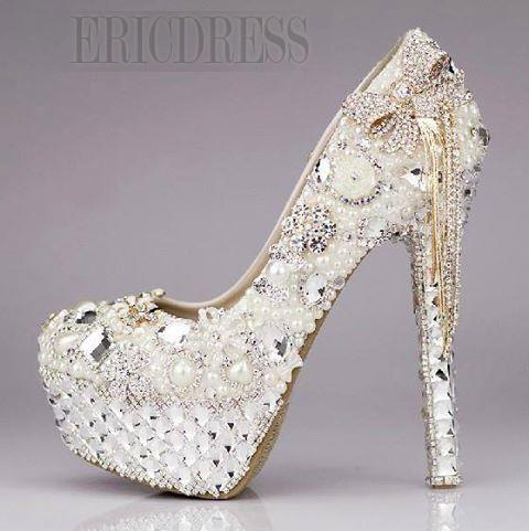 Luxury Sparkling Crystal Rhinestone Tassels Platform Ultra High Heels Women's Wedding Shoes Prom Shoes- ericdress.com 10767282