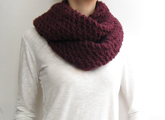 Infinity scarf knitted chunky burgundy circle by sascarves on Etsy