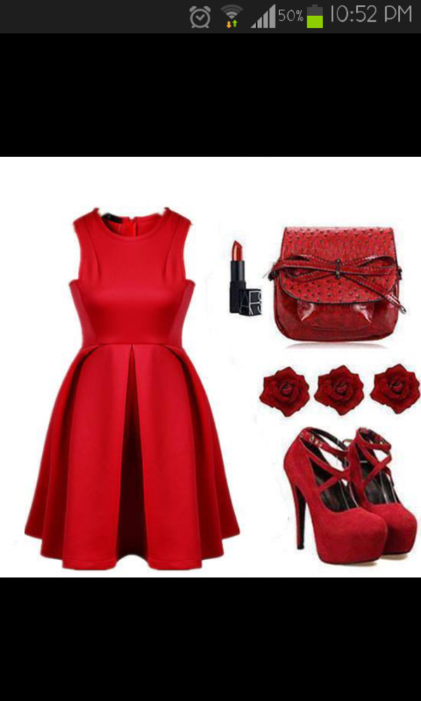 shoes red dress bag