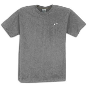 Nike Swoosh S/S T-Shirt - Men's - Casual - Clothing - Dark Grey Heather/Soft Grey