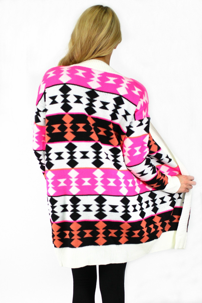 Join the Tribe Cardigan - Neon Pink - UOIONLINE.COM