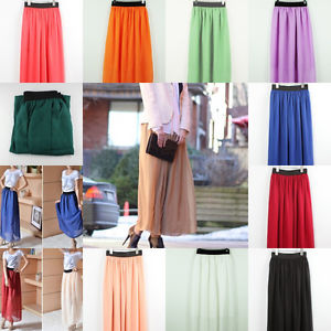 New Elegant Lady Girl Chiffon Pleated Retro Long Maxi Elastic Waist Skirt Dress | eBay