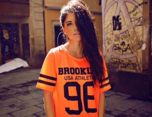 shirt brooklyn usa athlete orange jersey black stripes 96 neon neon orange