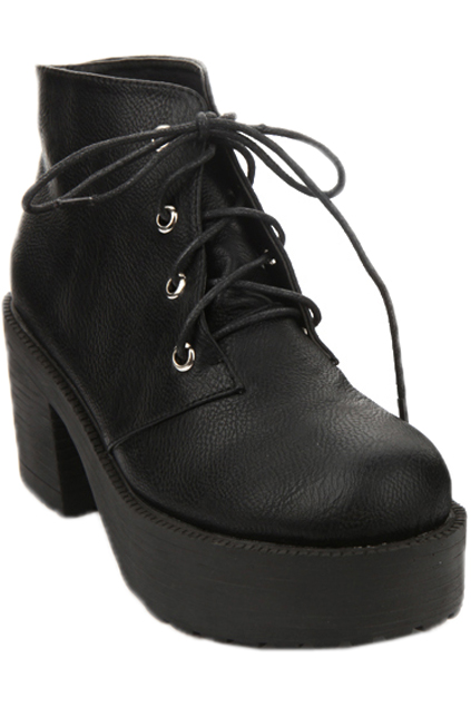 ROMWE   Tied Black Platform Ankle Boots, The Latest Street Fashion