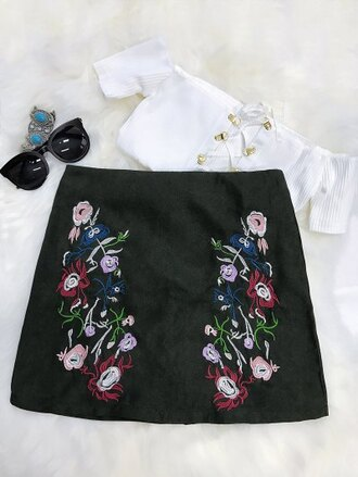 skirt fashion style crop tops girly floral flowers black zaful