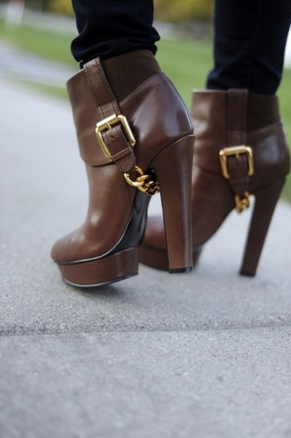 shoes booties chain brown