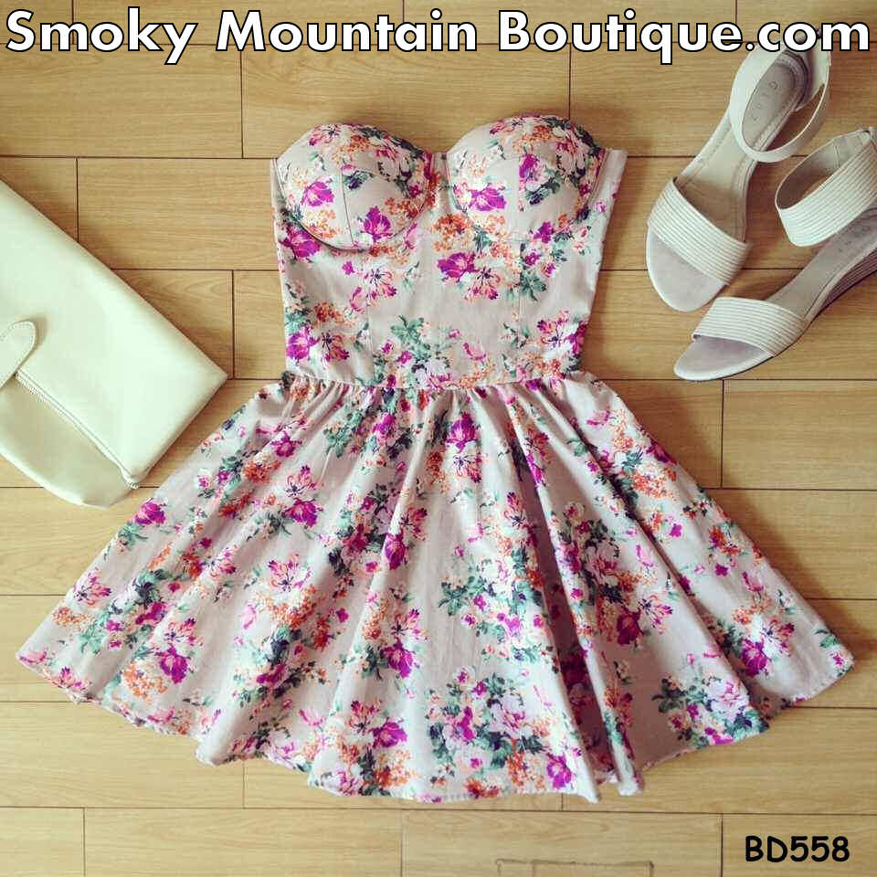 Andrea Floral Bustier Dress with Adjustable Straps - Size XS/S/M BD 558 - Smoky Mountain Boutique