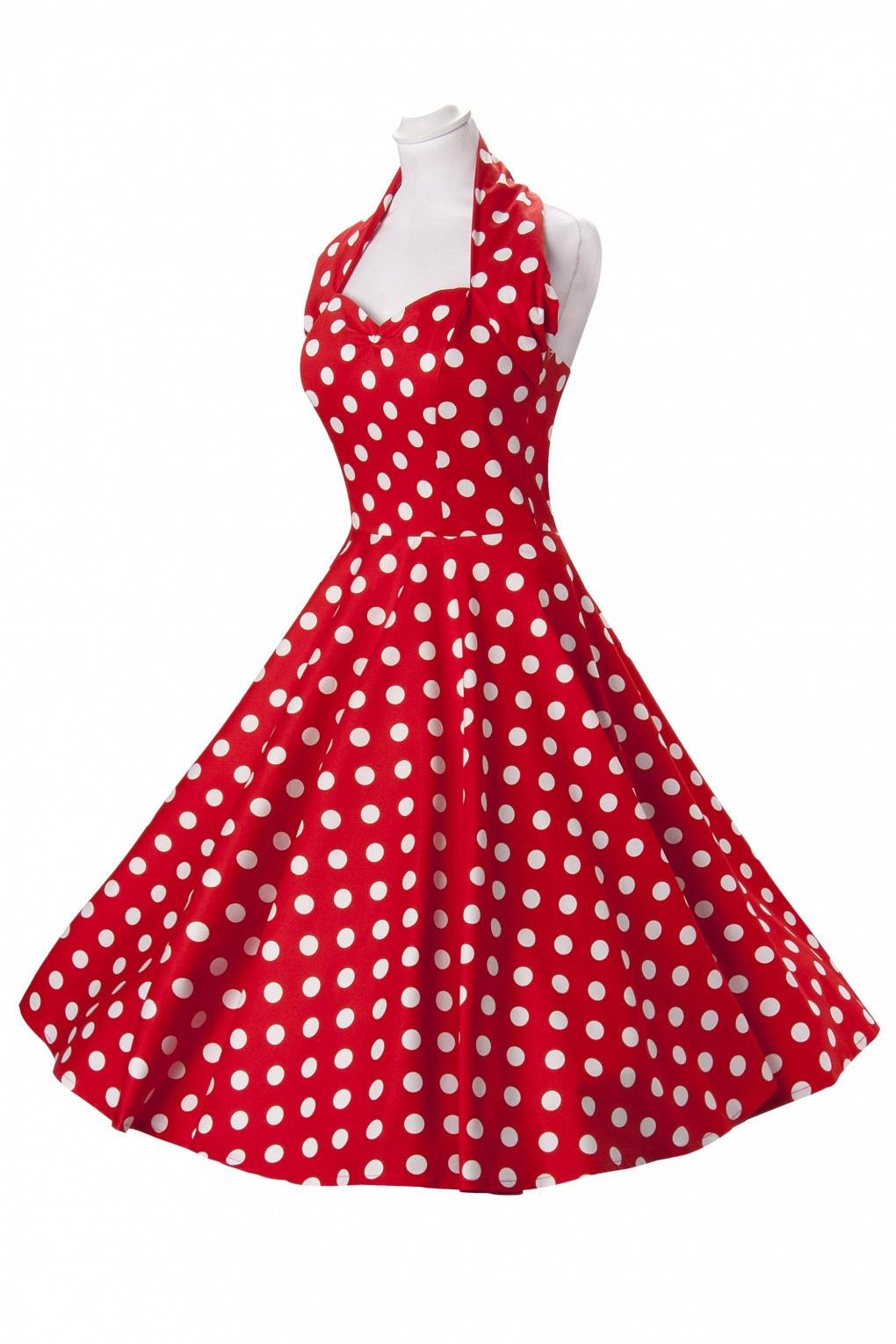 Blue And White Polka Dot Dress With Red Shoes