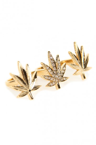 LoveMelrose.com From Harry & Molly | Leaf Mary Jane Rhinestone Double Ring - Gold