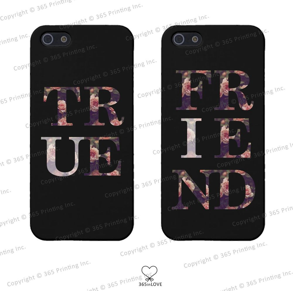 BFF Floral Print Matching Clear Phone Covers iPhone 4 5 5c Galaxy S3 S4 S5 | eBay