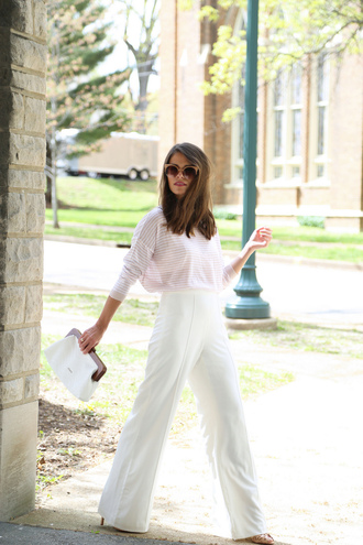 seams for a desire blogger shoes bag scarf sunglasses jeans white pants striped top high waisted pants