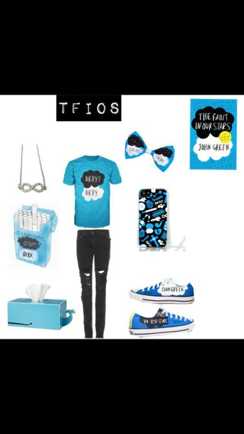 shirt the fault in our stars the fault in our stars book necklace jeans convers tissue box phone cover hair accessory
