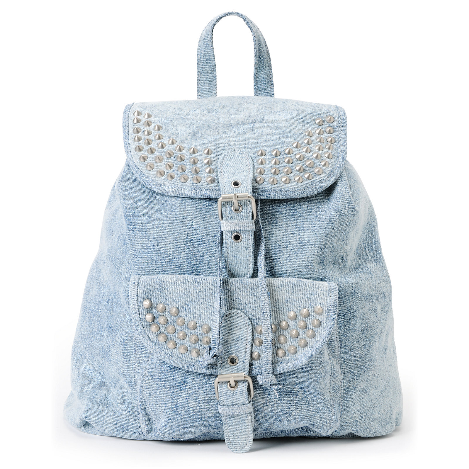 T-Shirt & Jeans Acid Wash Denim Studded Rucksack Backpack on Wanelo