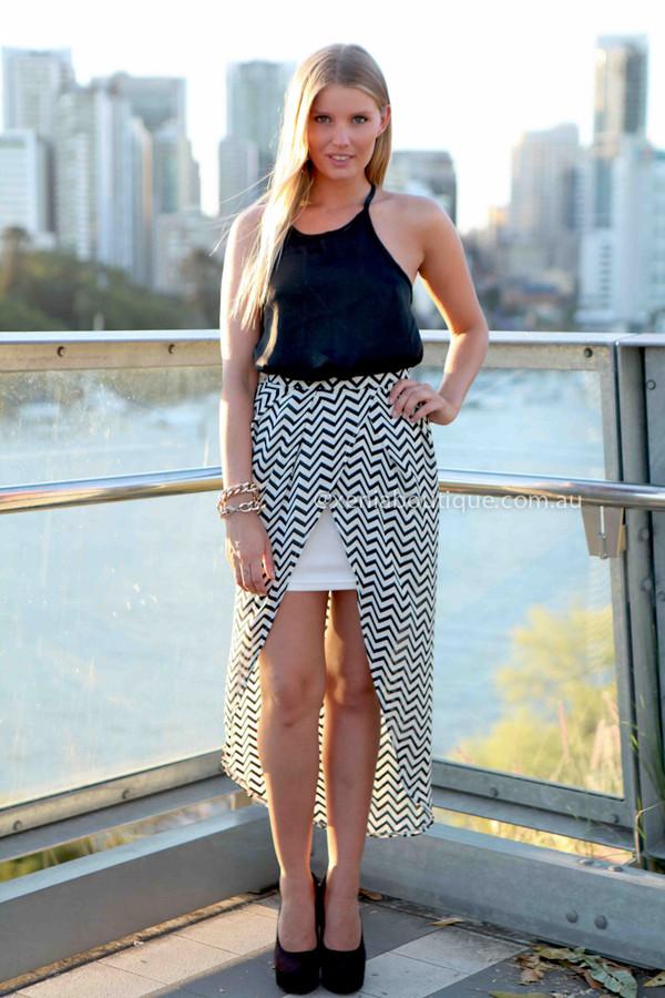 skirt xeniaboutique fashion women's clothing women's fashion boutique ootd ootn printed skirt zig zag skirt